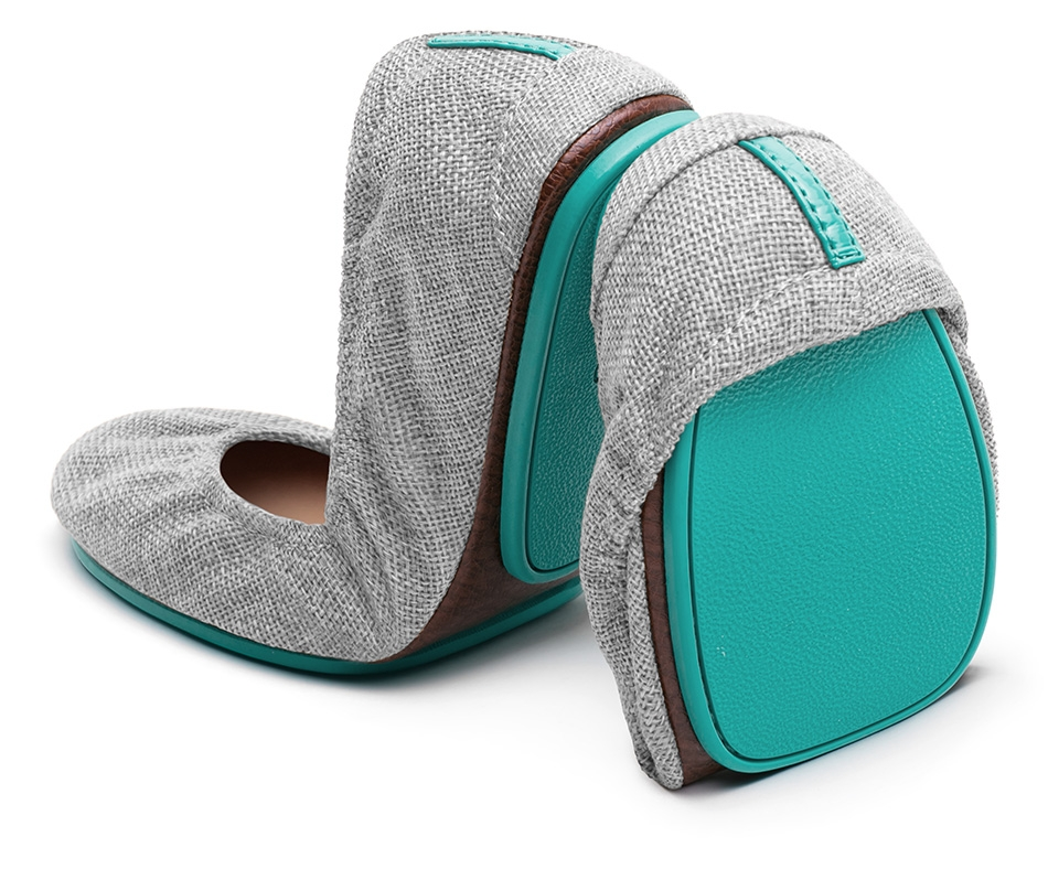 Tieks. I fell in love with those aqua blue soles the minute I laid eyes on them. Had to have them. Someday. Now let me start by saying I despise high heels and will very seldom be caught wearing them because they absolutely kill my feet.